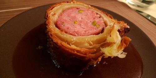 Sausage en croute at Chez Grenouille restaurant in Paris | parisbymouth.com