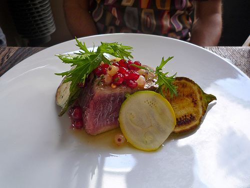 Septime - Tuna with red currents and courgettes by Tablefables