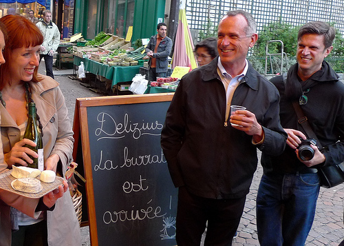 A party on the sidewalk in the Latin Quarter