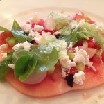 Watermelon, feta, cucumber granita, radish, chili from L'Office. Photo by MZ