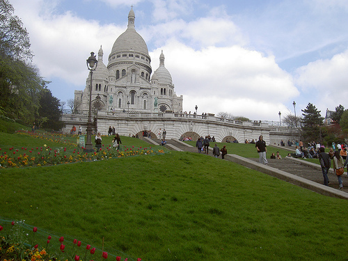 The Sacré-Cœur church at the very top of the Montmartre hill
