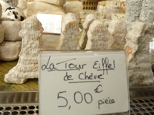 The smelliest souvenir - Eiffel Tower shaped goat cheeses for sale in Montmartre