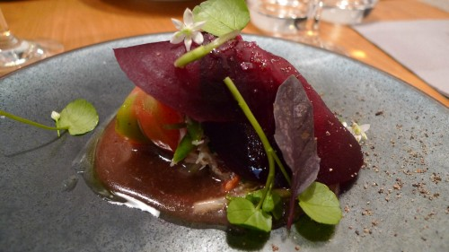 Shaved beet atop crab, heirloom tomatoes and miso vinaigrette