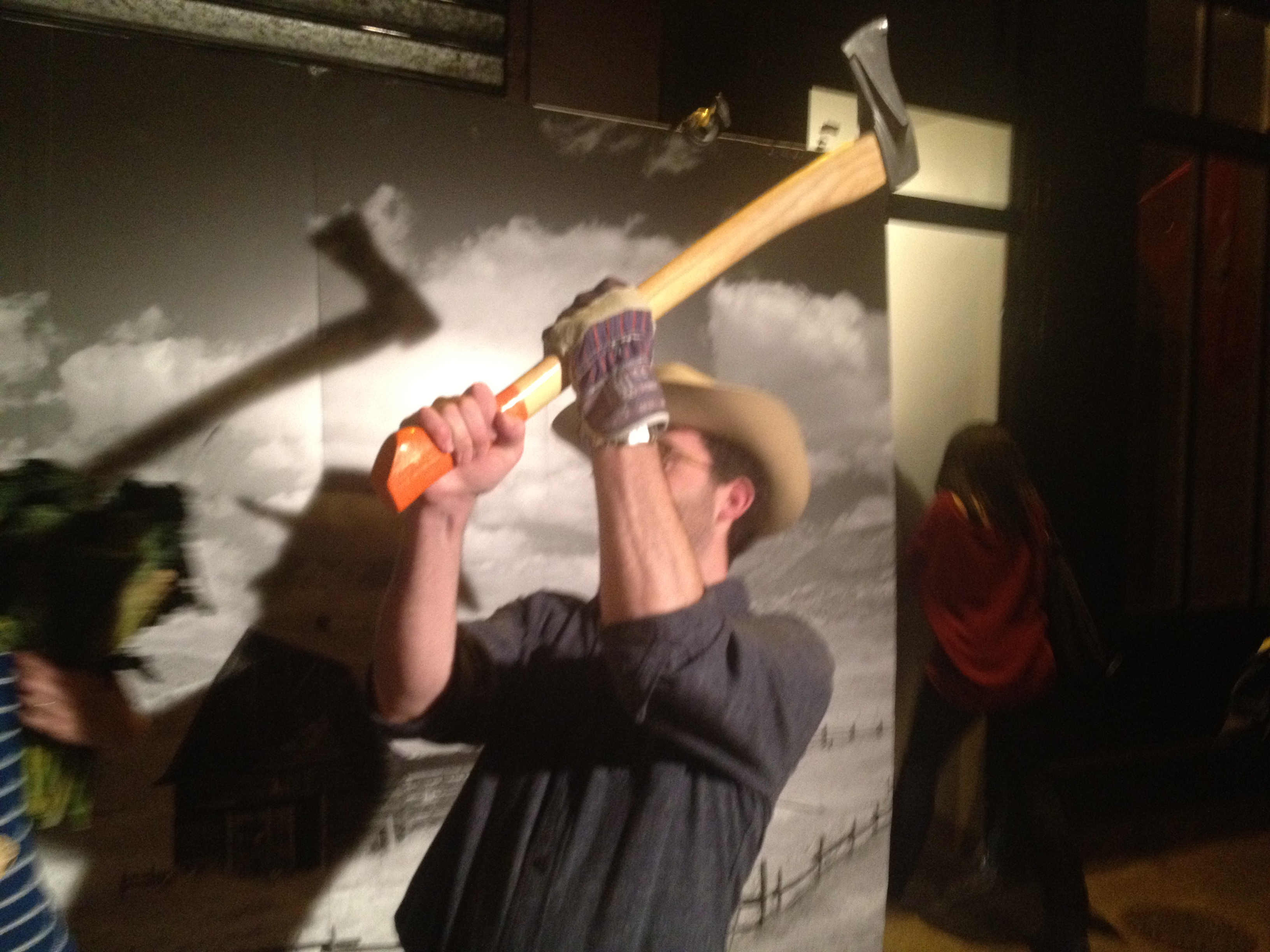 Braden Perkins (Verjus restaurant) tests the traveling photo booth outside the Sporting Project's first pop-up.