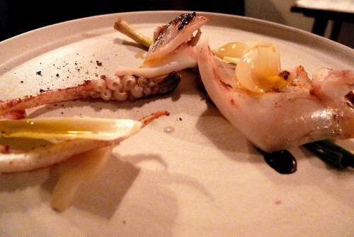 Squid, squid ink, onion petals, onion jam at Bones restaurant