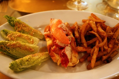 Lobster roll with fries and salad