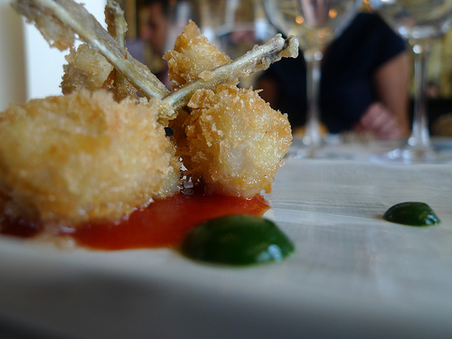 Tempura Frog's Legs at Le Grand Vefour by Barbra Austin.