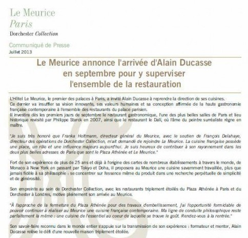 Alain Ducasse takes on Le Meurice