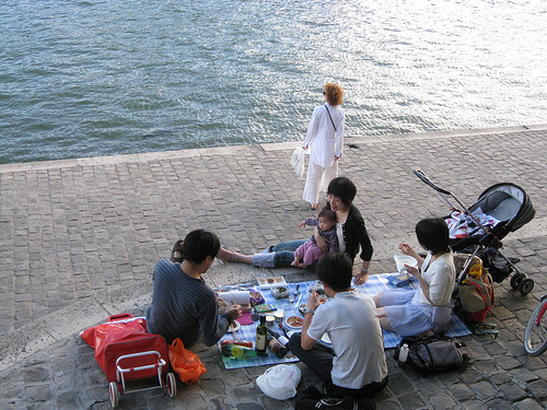 Picnic along the Seine in Paris
