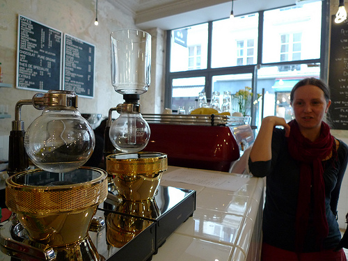Siphon coffee gadgetry at Coutume