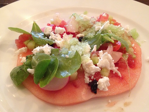 Watermelon, chili, feta, cucumber granita, radish from L'Office (photo Meg Zimbeck)