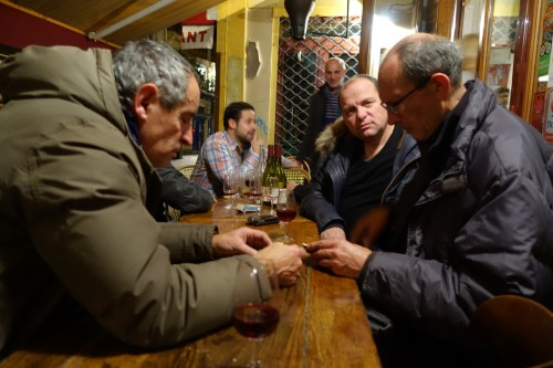 Winemakers Georges Descombes and Bernard Pontonnier at Aux Tonneaux des Halles