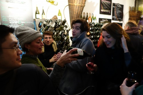 Morgane Fleury pouring at Ma Cave Fleury