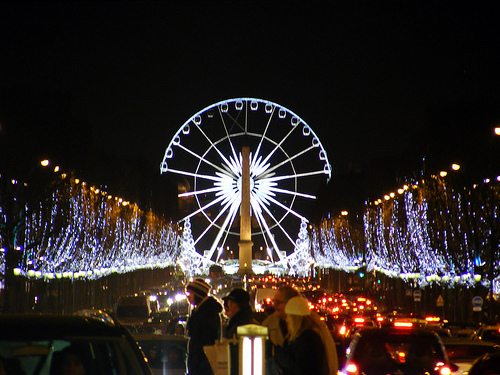 Christmas on the Champs-Elysees in Paris photo by Mathieu Marquer via Flickr