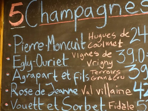 Champagne specials at La Derniere Goutte (photo by Meg Zimbeck)