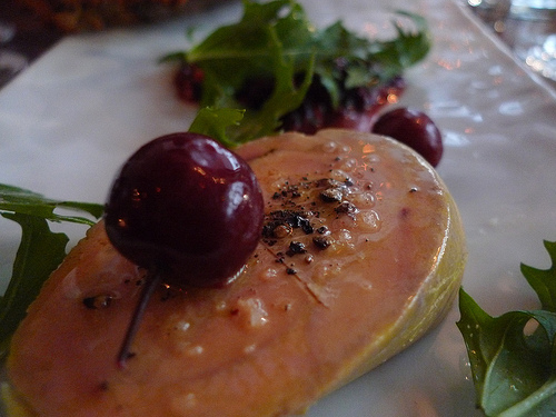 Foie gras torchon with boozy cherries from Frenchie photo Barbra Austin