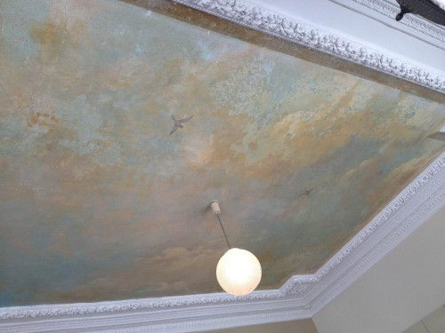 Hand-painted ceiling at Le Servan | parisbymouth.com