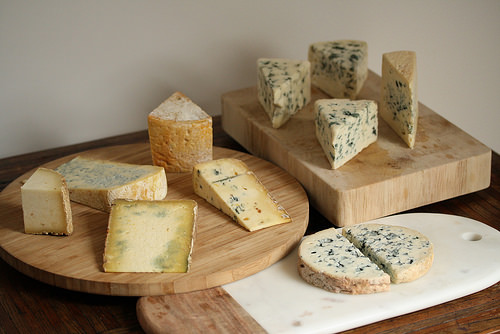 A selection of blue cheeses. They're all so different!