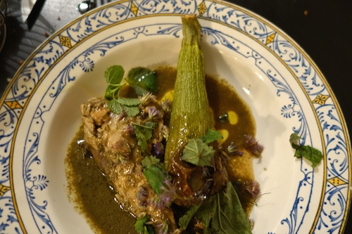 tuna and courgette - Vivant Cave in Paris with chef Svante Forstorp
