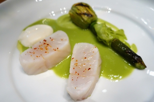 ADPA: fish with hay smoked yogurt and zucchini blossom
