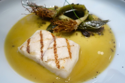 ADPA: sea bass with leeks & black olive.