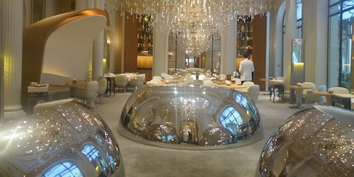 Design by Patrick Jouin and Sanjit Manku Alain Ducasse at Plaza Athenee silver balls | parisbymouth.com