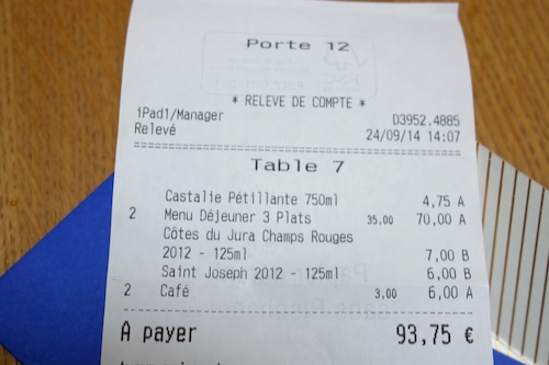 Porte 12 in Paris lunch bill