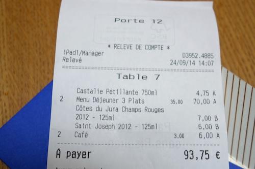 Porte 12 in Paris lunch bill