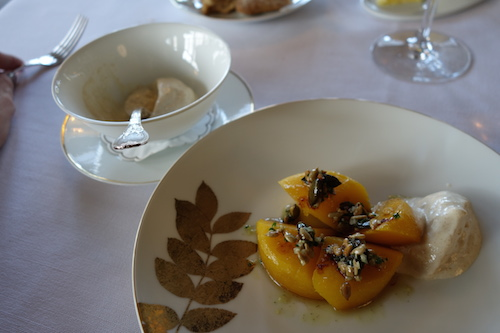 butternut squash with salted squash seeds and fermented bread mousse at Ledoyen restaurant in Paris | Paris by Mouth