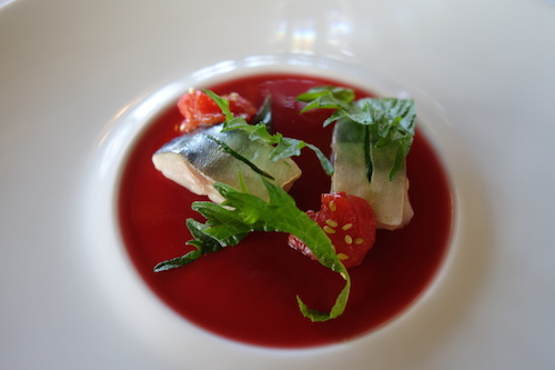 mackerel marinated in green shiso with hibiscus gelée and sesame infused tomatoes at Ledoyen restaurant in Paris | Paris by Mouth