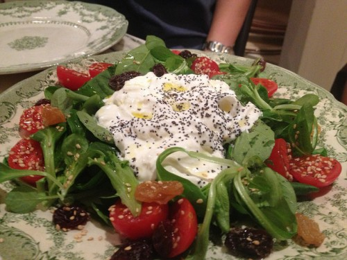 Burrata salad at Come a Casa restaurant in Paris