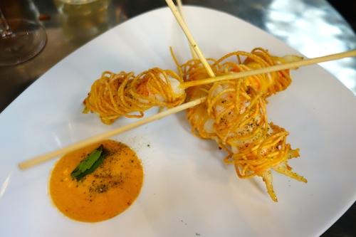 Involtini de langoustines frites à la sauce de poutargue at Caffè Stern in Paris