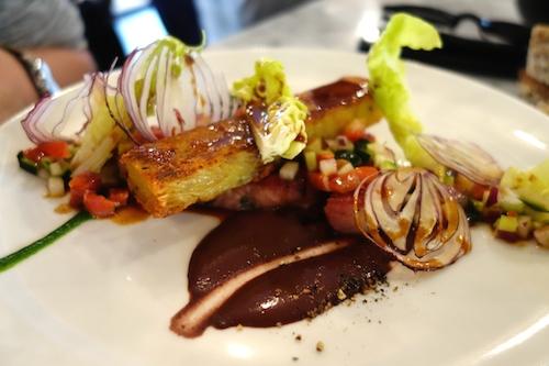 Poitrine de cochon, boudin, laitue et pomme de terre compressées at 52 rue Faubourg Saint Denis in Paris