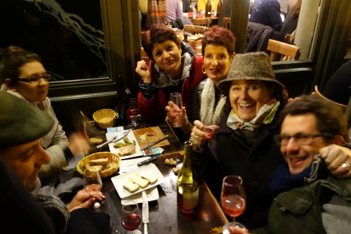 Café de la Nouvelle Mairie celebration in 2013: winemaker Catherine Montanet (3rd from left) with wine agent Sylvie Chameroy (second from right) and friends