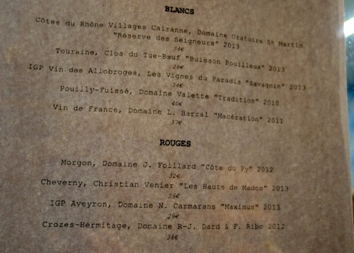 Wine list at Le Verre Vole sur Mer