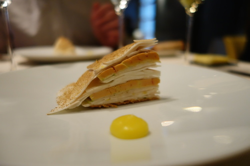 Astrance: tarte of foie gras, mushroom, apple, citrus zest, hazelnut oil