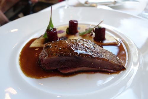 Epicure: wild duck, creamy polenta, quince, hibiscus