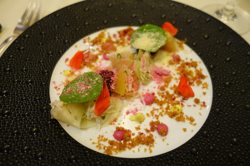 Guy Savoy: crab with beet & turnip