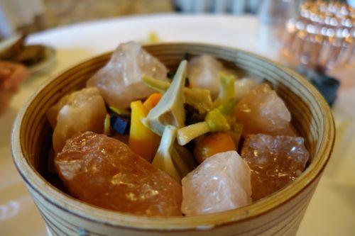 Le Meurice: root vegetables in pink salt