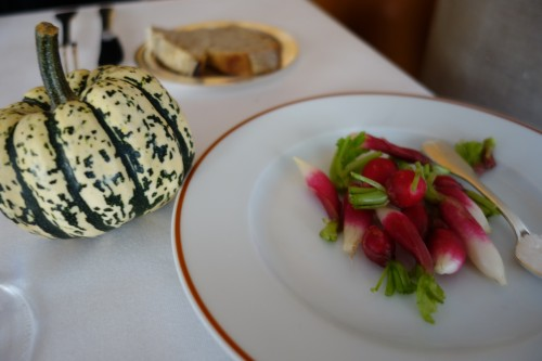 Arpège: radishes, homemade bread, Bordier butter