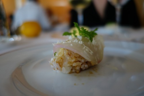 Arpège: white beetroot sushi with horseradish & fig leaf