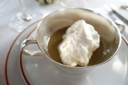 Arpège: puréed grey chanterelles with whipped ham cream