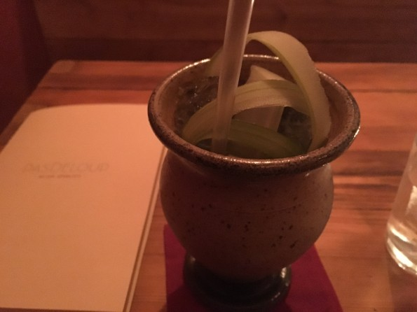 The refreshing Herbaceous cocktail at Pas de Loup, served in a mug made by the bartender's mother