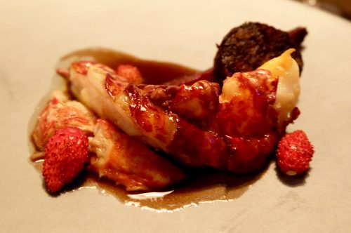 Lobster with boudin noir and wild strawberries at Septime