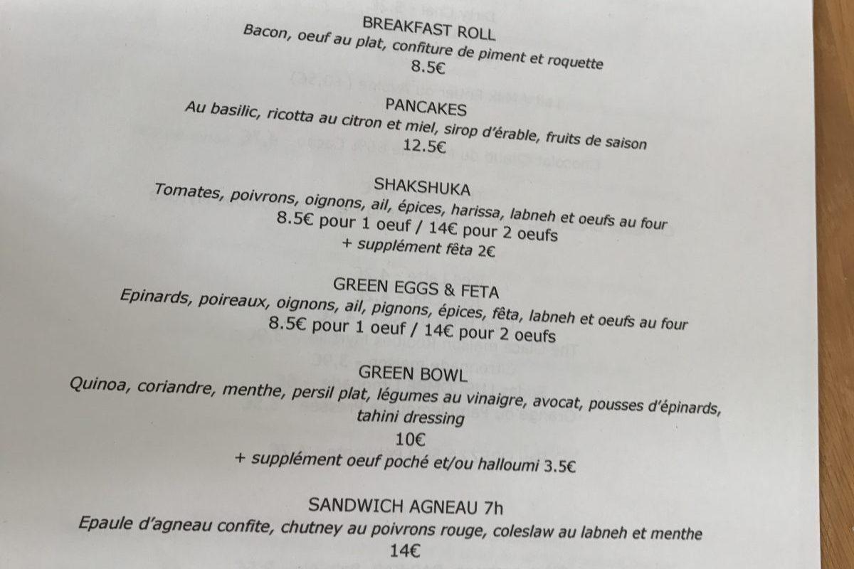 Café Méricourt in Paris menu