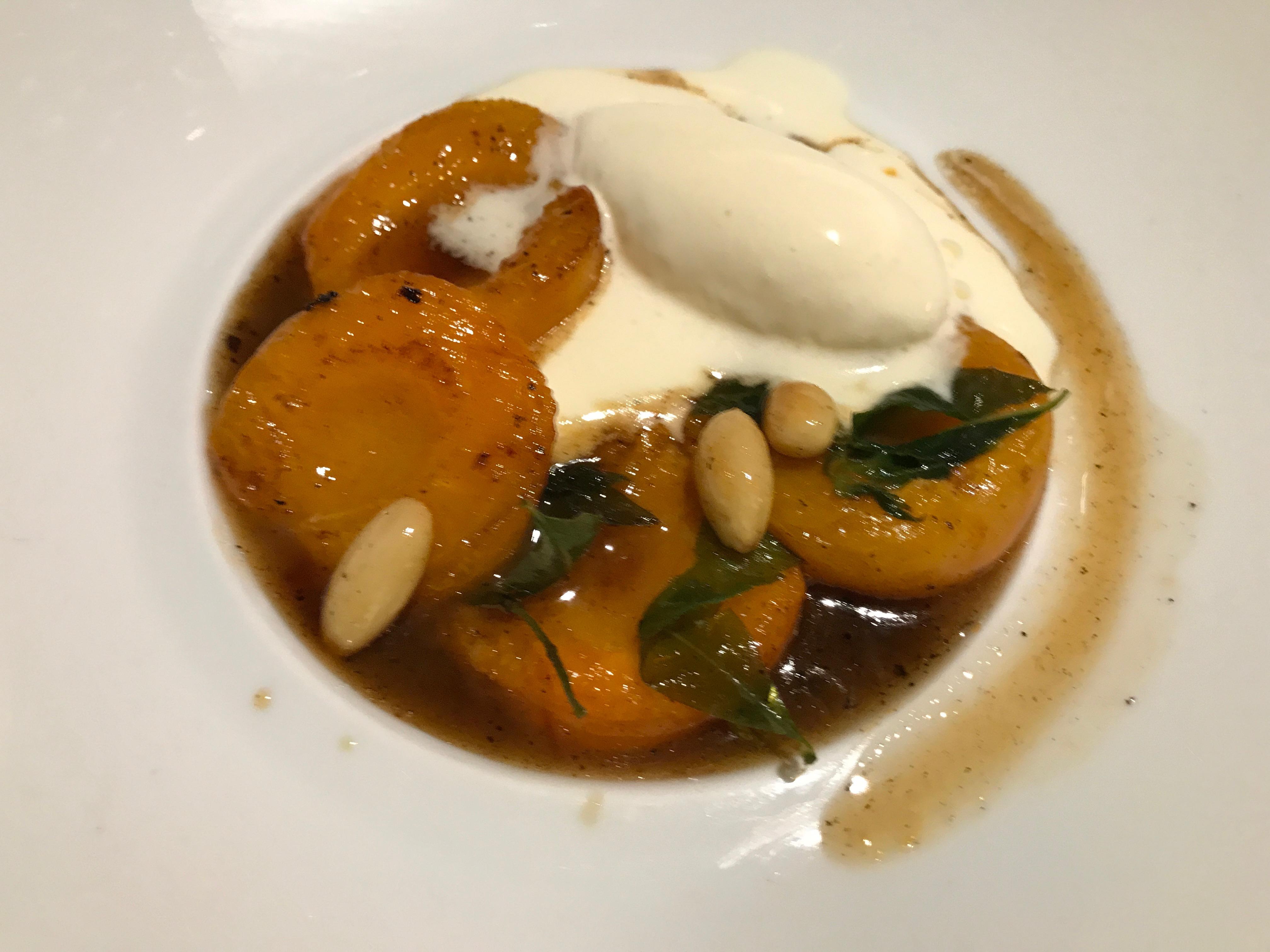 Poached apricots at Le Villaret restaurant in Paris