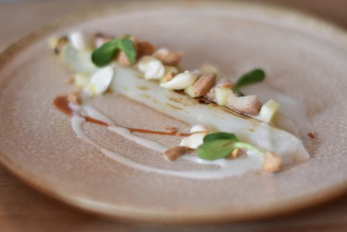 white asparagus with smoked eel, fresh almonds and apple at Robert restaurant in Paris | parisbymouth.com
