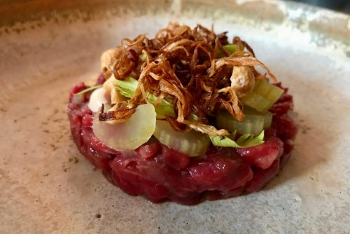 Aged beef tartare with black garlic mayo, hazelnuts and celery at Robert restaurant in Paris | parisbymouth.com
