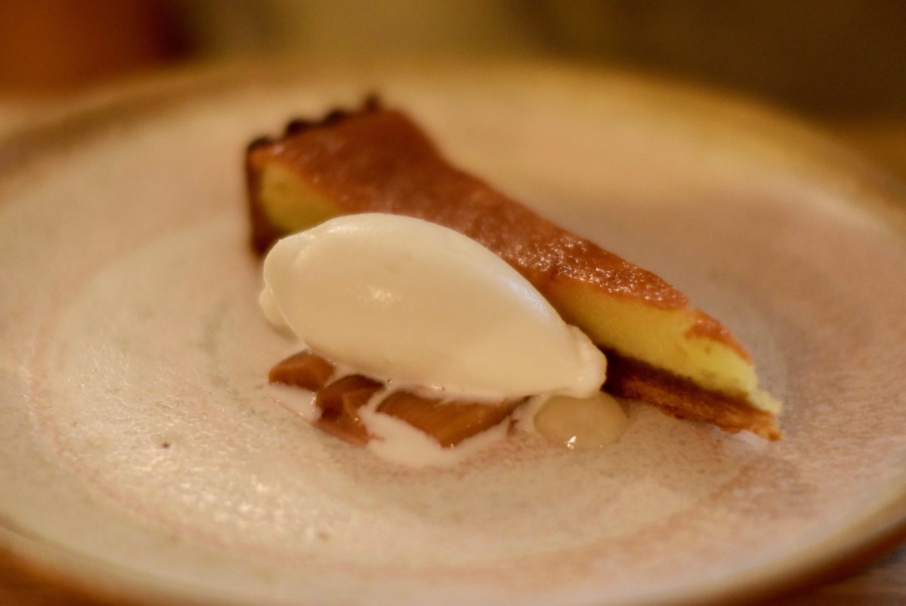 Frangipane tart with rhubarb & yogurt sorbet at Robert restaurant in Paris | parisbymouth.com